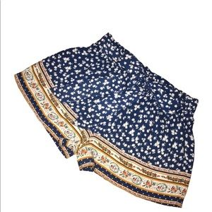 Blu Pepper Elastic Waist Floral Shorts with Tie